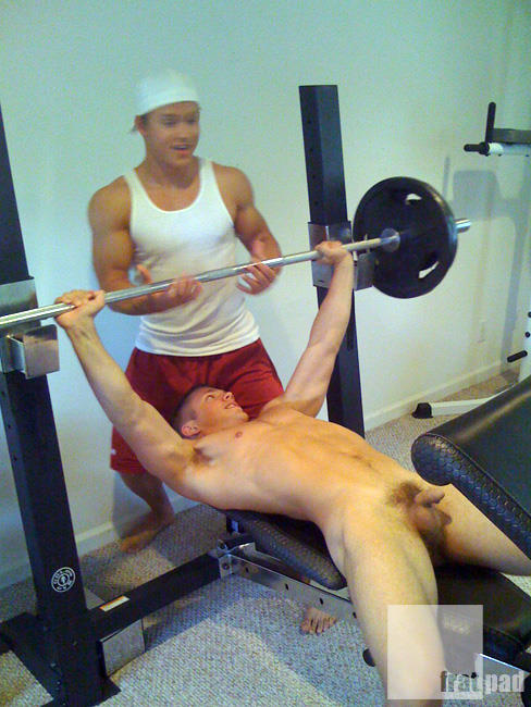 Naked guys in the gym