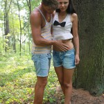 cute stright guy with girldriend outdoors
