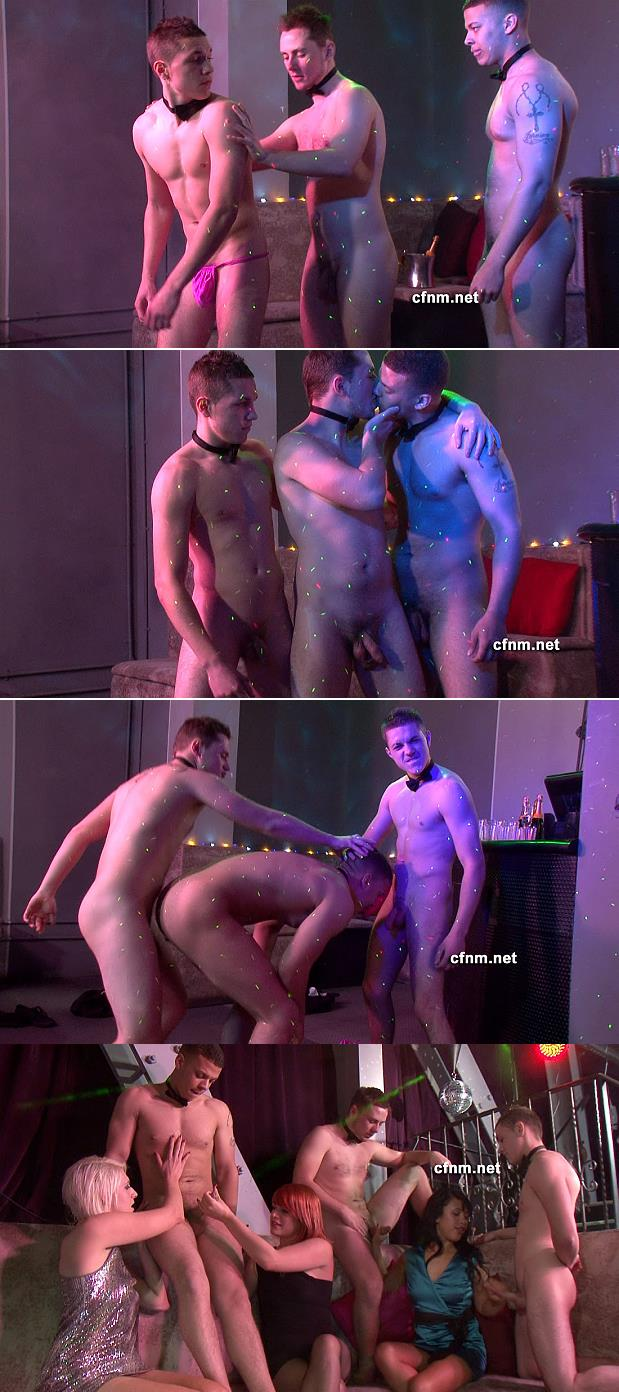 three male stripper dance naked in cfnm story