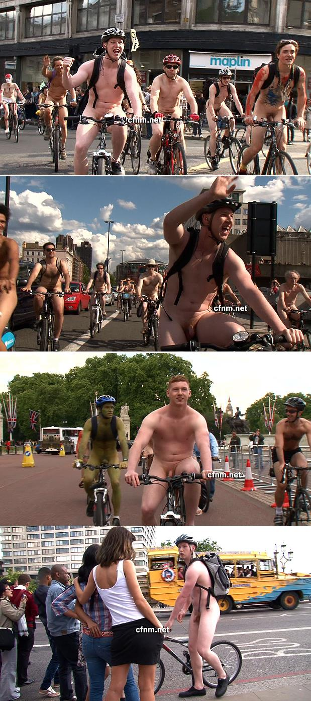 nude guys riding bikes in London