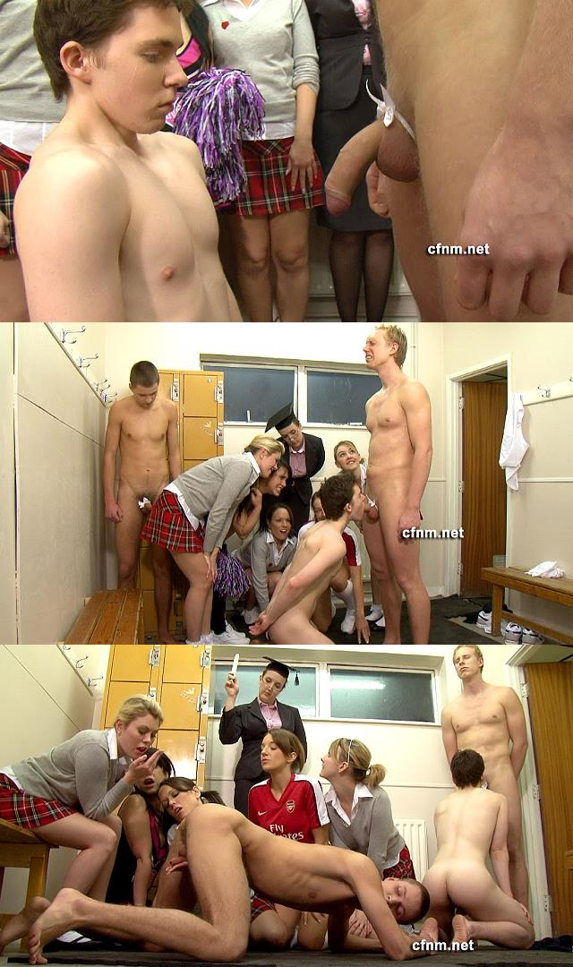 young sportsmen of the school forced to such each other at locker room