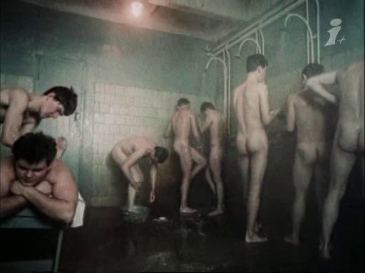naked soldiers showering