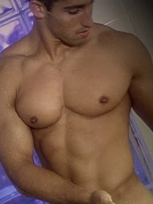 stunning muscle man showering