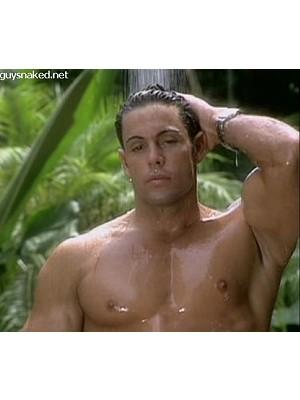 sweet muscle hunk showering